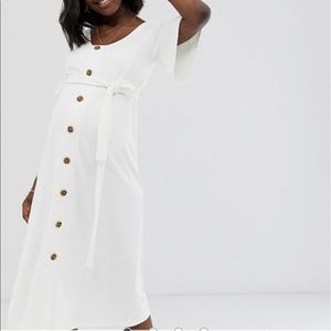 ASOS Maternity ivory midi button textured dress